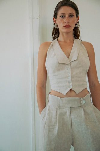 The Bettina Vest in Flax Linen