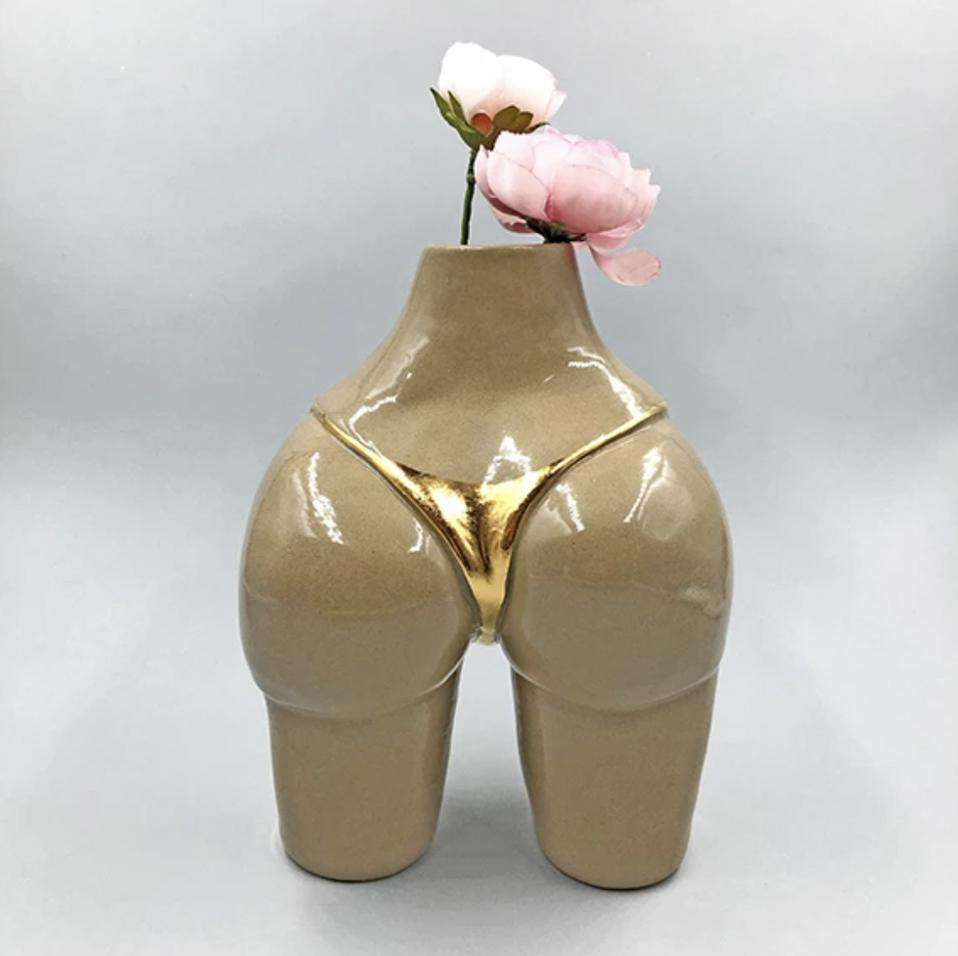 The Stoneware Gold Bikini Booty Vase 6""