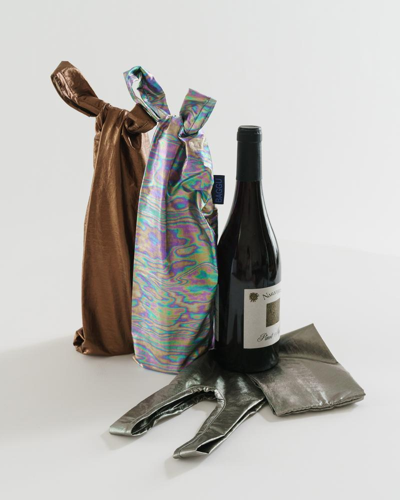The Wine Baggu Set Of Three in Dark Metallics