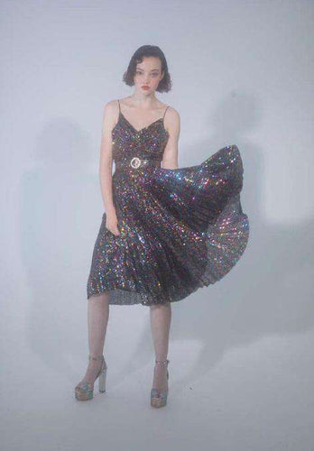The Aria Dress in Rainbow Sequin