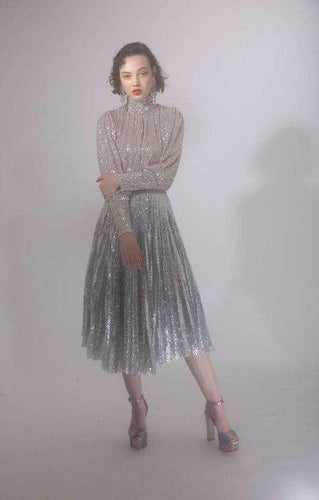 The Dita Top in Silver Sequins