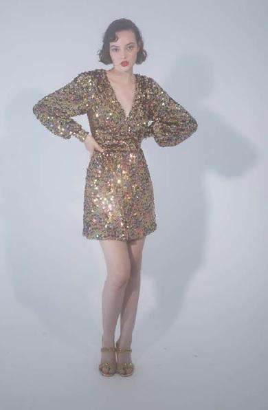 The Tilly Dress in Silver Sequins