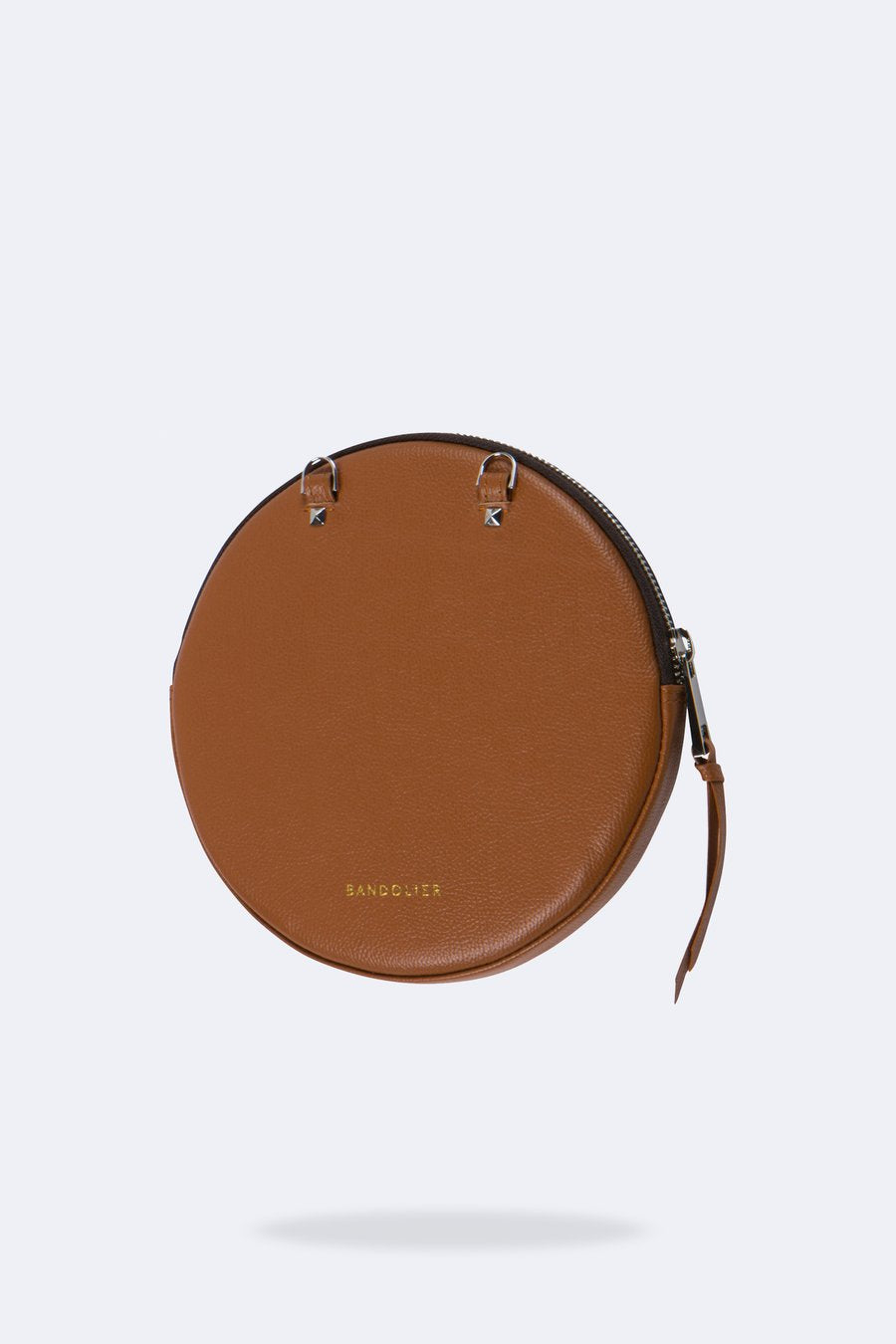 The Large Round Pouch in Sienna/Silver