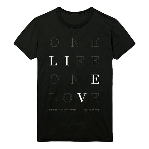 Black Thirty Seconds To Mars One Life Lyric T-Shirt (Unisex Fit)(Limited Edition)