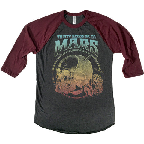Thirty Seconds To Mars Deadhead Raglan tee. Maroon sleeves w/ charcoal body.