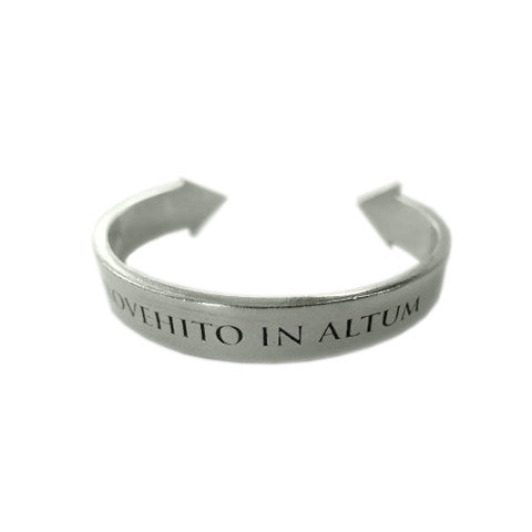 "Thirty Seconds To Mars silver plated pewter adjustable cuff. ""Provehito In Altum"" engraved on the front."