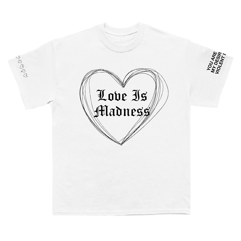 Love Is Madness Tee and Sticker Set Bundle