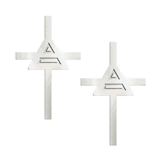 Cross Triad Stud Earrings