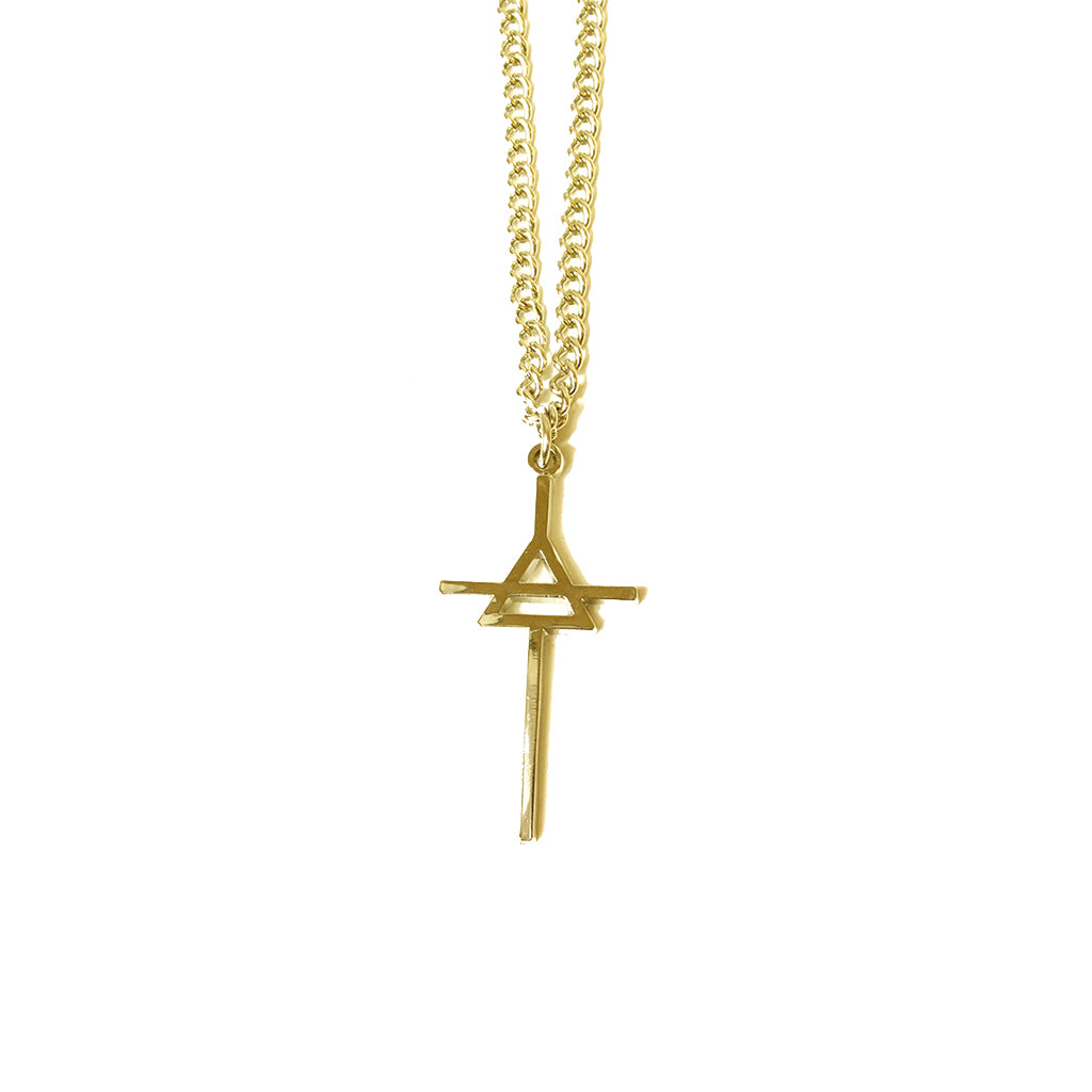 Brass Triad Necklace with 14kt Gold Chain