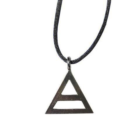 Thirty Seconds To Mars Triad Pewter Necklace with black silk cord.