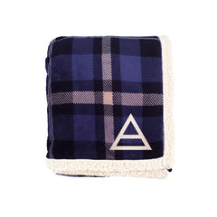 Plaid Triad Embroidered Sherpa Blanket