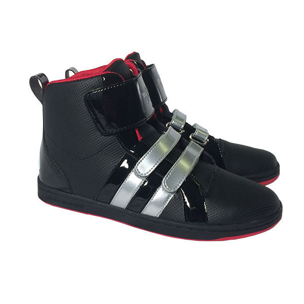 Thirty Seconds To Mars Sneaker. Black with chrome velcro straps. Collaboration with Creative Recreations.
