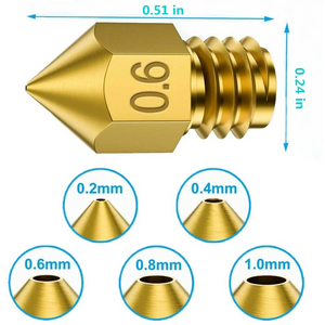15pcs MK8 Extruder Nozzle For Ender & Cr Series 3D Printer, 0.2, 0.4, 0.6,mm (EXCEPT CR-10S PRO AND CR-X)