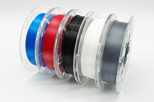 Upgraded PLA 3D Printer Filament, 1.75mm, 200g x 5 Pack - Black, Blue, Grey, Red, White