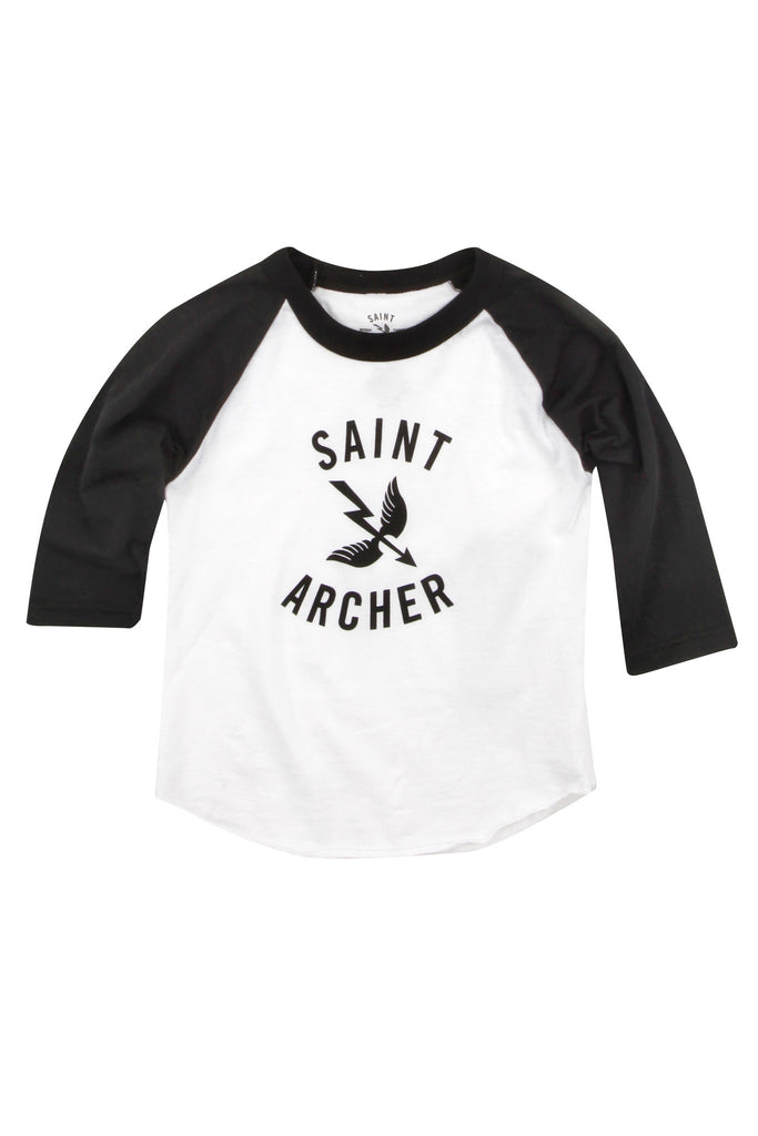 KID'S RAGLAN- BLACK/WHITE