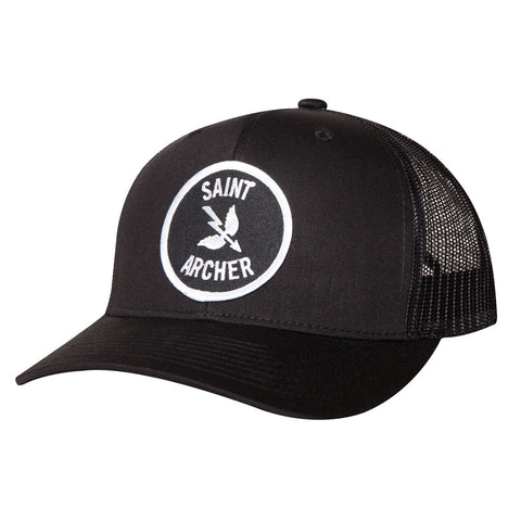 PATCH TRUCKER HAT - BLACK / WHITE