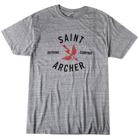 CLASSIC BREW FRONT PRINT S/S TEE - HEATHER GRAY / RED