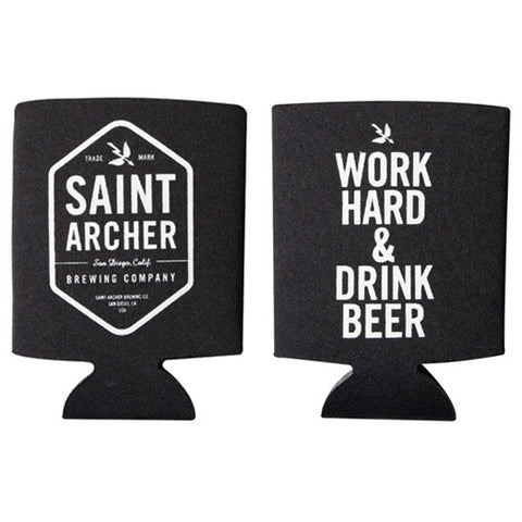 WORK HARD BEER KOOZIE - BLACK / WHITE