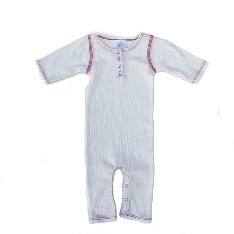 Omage White Ribbed Henley Baby Suit