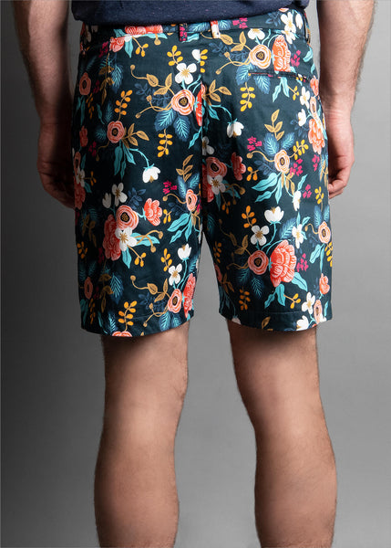 REVERSIBLE NAVY WORLD FLORAL SHORT