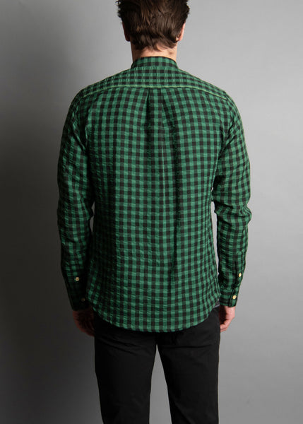 GREEN PUCKERED GINGHAM
