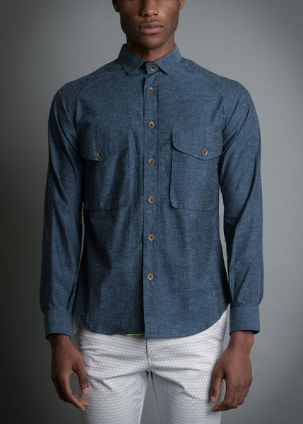 MID-BLUE DOT SPECK RAGLAN SHIRT
