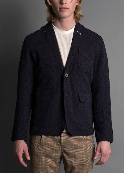 NAVY CORRUGATED BLAZER