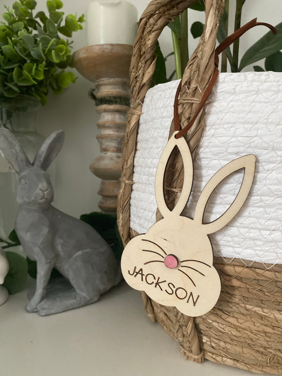 Rabbit face -  Easter basket name tag