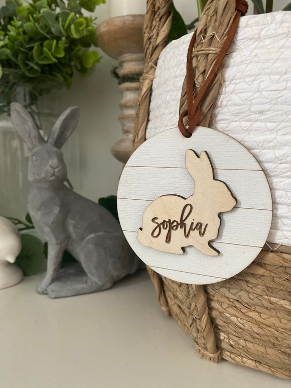 Shiplap Easter basket name tag