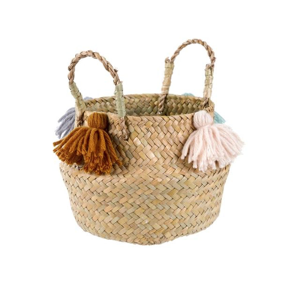Natural belly basket with tassles