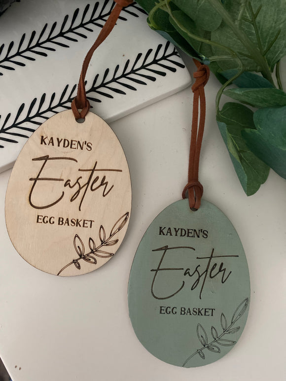 Egg shape Easter basket name tag