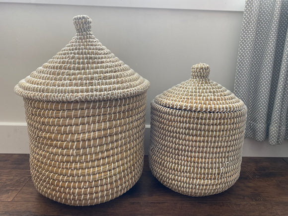 Basket with lid, white + natural