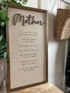 Mother large sign