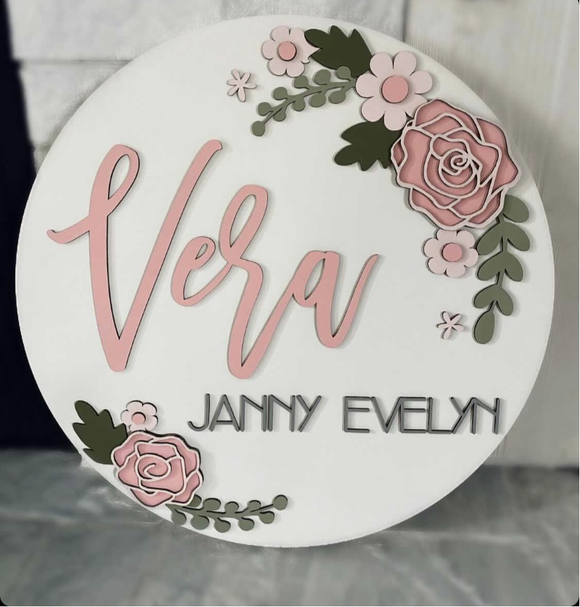 Custom listing - 3D first name only + floral sign