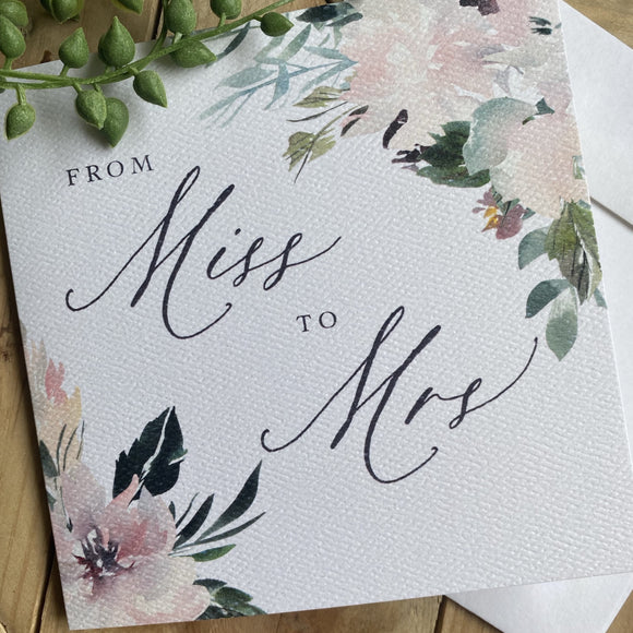 Miss to Mrs Bridal shower card
