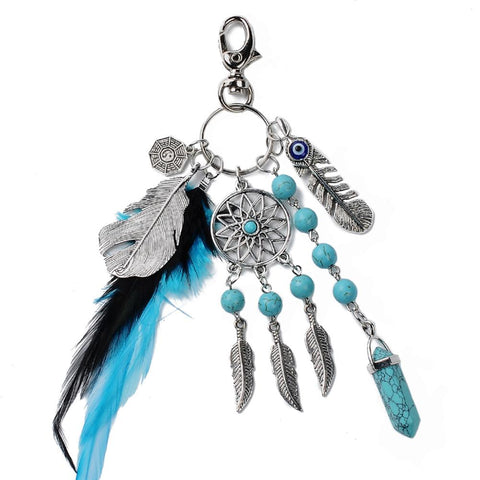 Women Natural Turquoise Dreamcatcher Keychain Boho Fashion Keychain