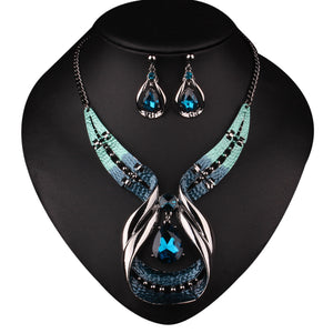 Crystal Choker Chunky Statement Pendant Bib Necklace Earring Jewelry Set