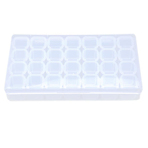 Plastic 28 Slots Nail Art Tools Jewelry Storage Box Case Organizer Beads