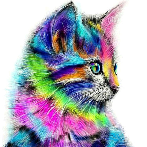 Diamond Painting - Partial Round - Colorful Cat