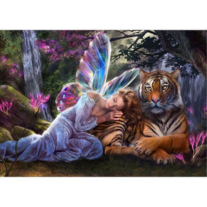 Diamond Painting - Partial Round - Angel and Tiger