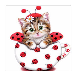 Diamond Painting - Partial Round - Cute Cup Cat