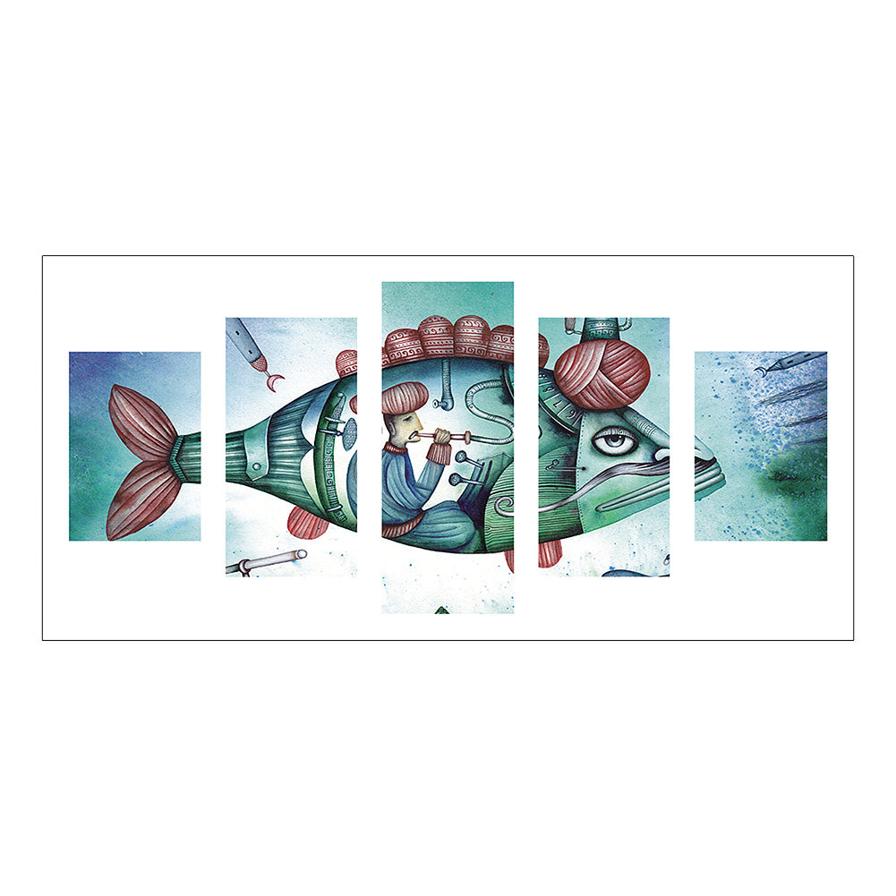 5pcs Diamond Painting - Full Round - Abstract Fish