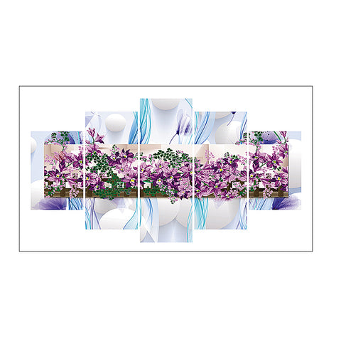 5pcs Diamond Painting - Full Round - Purple Flower
