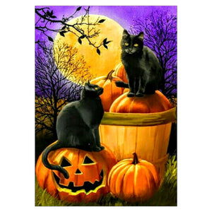 Diamond Painting - Full Round - Black Cat Pumpkin