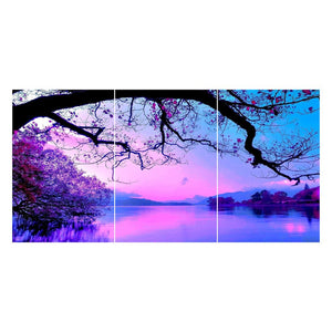 3 pcs Diamond Painting - Full Round - Purple Tree Lake