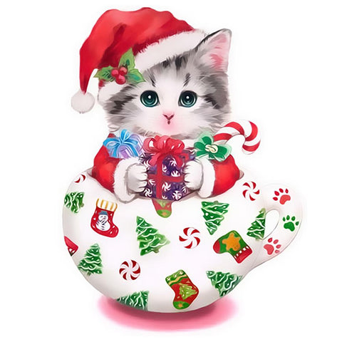 Diamond Painting - Partial Round - Christmas Cup Cat