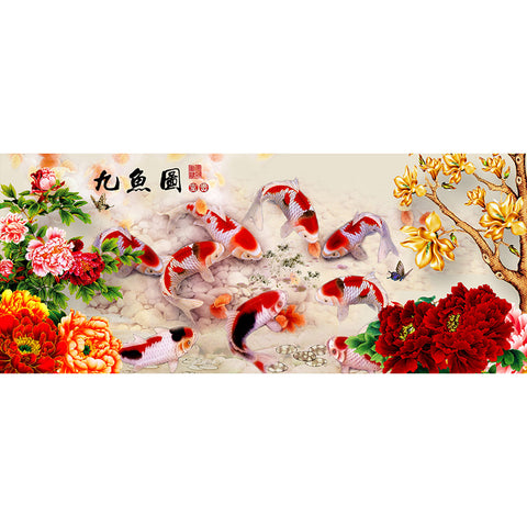 Diamond Painting - Full Round - Peony 9 Fishes (80*35cm)