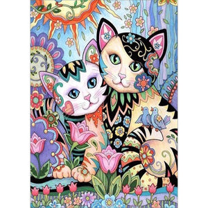 Diamond Painting - Full Round - 2 Cats