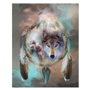 Diamond Painting - Full Square - Wolf Dreamcatcher