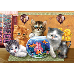 Diamond Painting - Full Round - Cats Fish Tank
